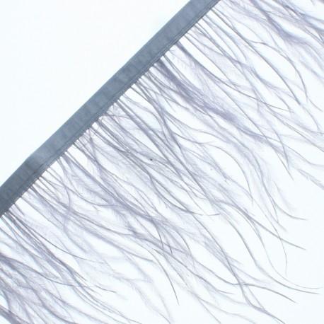 14 cm Ostrich Feather Ribbon - Grey Rio x 50cm