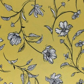 ♥ Coupon 120 cm X 140 cm ♥ Embossed Satin Fabric - Yellow Elaganza