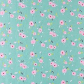 Primrose cotton fabric - Green In bloom x 10 cm