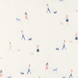 Tissu popeline Primrose Fabrics - Dog Walkers - blanc x 10 cm