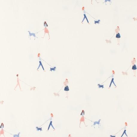 Tissu popeline Primrose - Dog Walkers - blanc x 10 cm