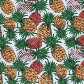 ♥ Coupon 250 cm X 140 cm ♥ Cotton viscose voile Fabric - white Pineapple