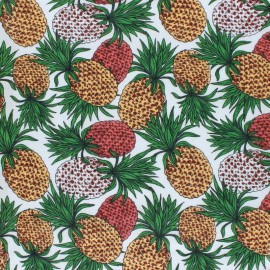 Tissu voile coton viscose Ananas - blanc x 10cm