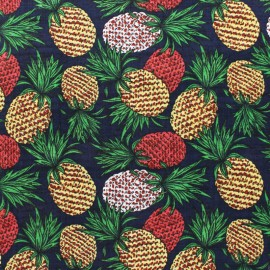 Tissu voile coton viscose Ananas - bleu x 10cm