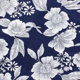 Cotton viscose voile Fabric - Navy blue Elsa x 10cm