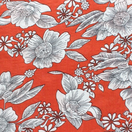 Tissu voile coton viscose Elsa - rouge x 10cm