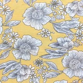♥ Coupon 50 cm X 140 cm ♥ Cotton viscose voile Fabric - Yellow Elsa
