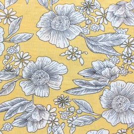 Cotton viscose voile Fabric - Yellow Elsa x 10cm