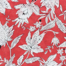 Cotton viscose voile Fabric - red Tina x 10cm