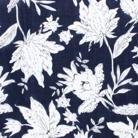 Cotton viscose voile Fabric - navy blue Tina x 10cm