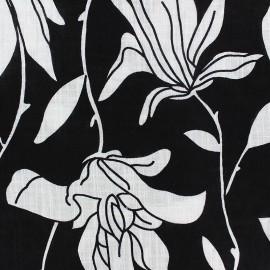 Cotton viscose voile Fabric - white Pop flower x 10cm