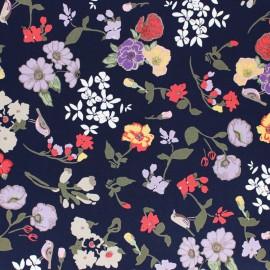 Polyester fabric - Navy blue Alésia x 10cm