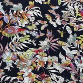 Tissu jersey viscose Papillon - bleu x 10 cm