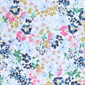 Tissu popeline stretch Jardin royal - jaune x 10cm