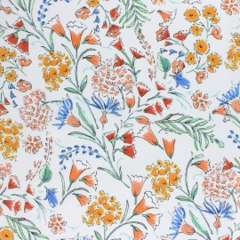 Stretch Poplin Fabric - Raw Bucolic garden x 10cm