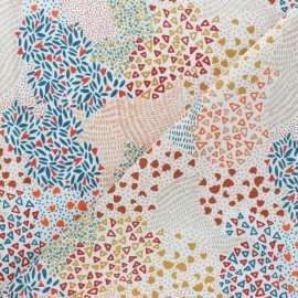 Stretch Poplin Fabric - Raw Dotty Garden  x 10cm