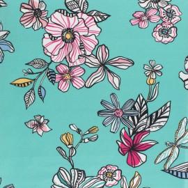 Stretch Poplin Fabric - Green Punta Cana x 10cm