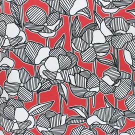 Tissu popeline stretch Coquelicot - rouge x 10cm