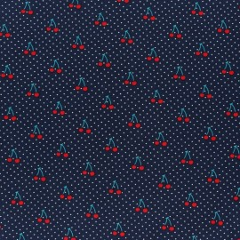 Cotton Poplin fabric - Navy blue Cherry Chérie x 10cm