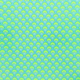 Tissu coton enduit Petit Pan Wasabi - bleu x 10cm