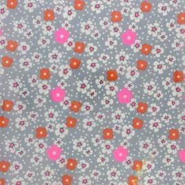 Petit pan coated cotton fabric - Grey Fleurs des îles x 10cm