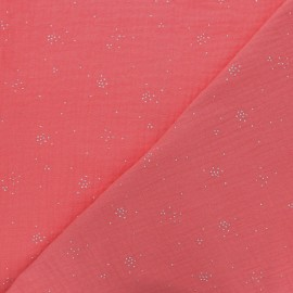 Tissu double gaze de coton Etincelle argentée - Corail x 10cm