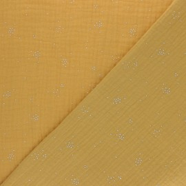 Double cotton gauze fabric - White Silver Spark x 10cm