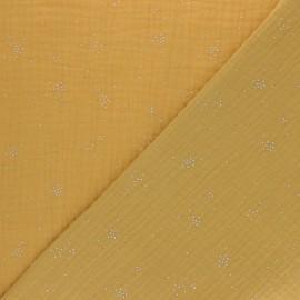 Tissu double gaze de coton Etincelle argentée - moutarde x 10cm
