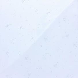 Tissu double gaze de coton Cosmos argenté - blanc x 10cm