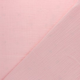 Double cotton gauze fabric - Coral pink Silver Spark x 10cm