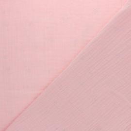 Tissu double gaze de coton Etincelle argentée - Blush x 10cm