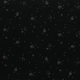 Tissu double gaze de coton Etincelle argentée - noir x 10cm