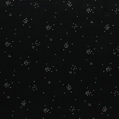 Double cotton gauze fabric - Black Silver Spark x 10cm