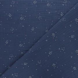 Double cotton gauze fabric - Indigo blue Silver Spark x 10cm
