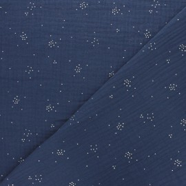Tissu double gaze de coton Etincelle argentée - bleu indigo x 10cm