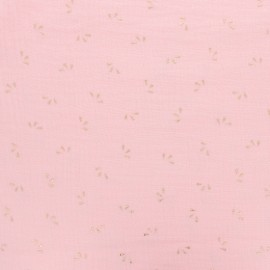 Double cotton gauze fabric - White gold Petal x 10cm