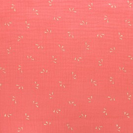 Double cotton gauze fabric - Coral pink gold Petal x 10cm