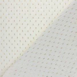 Tissu double gaze de coton Pointillé doré - écru x 10cm