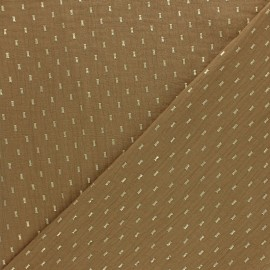 Double cotton gauze fabric - Camel gold dash x 10cm