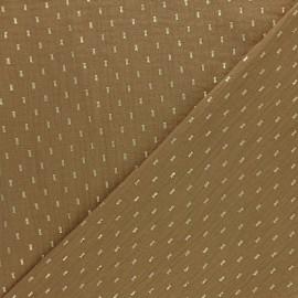 Double cotton gauze fabric - Camel gold dash x 10cm