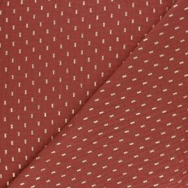 Tissu double gaze de coton Pointillé doré - Terracotta x 10cm