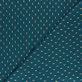 Double cotton gauze fabric - Peacock green gold dash x 10cm