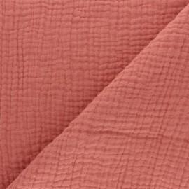 Tissu triple gaze de coton uni - Marsala x 10cm