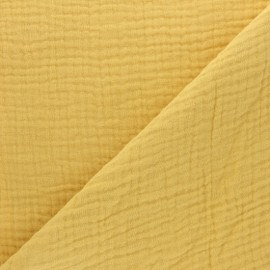 Plain Triple gauze fabric - mustard yellow x 10cm
