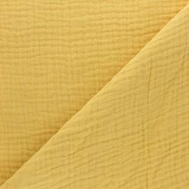Tissu triple gaze de coton uni - moutarde x 10cm