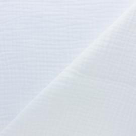 Tissu triple gaze de coton uni -  blanc x 10cm