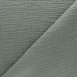 Tissu triple gaze de coton uni - vert kaki x 10cm