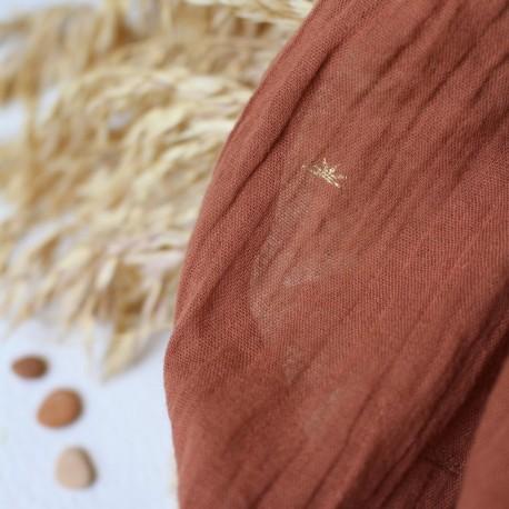 Creased cotton fabric Atelier brunette - Sunset Chestnut x 10cm