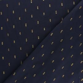 France Duval Stalla Viscose fabric - navy/gold plumetis x 10cm