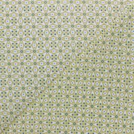 Cretonne cotton fabric - Lime green Faro x 10cm